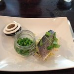 Child's portion of seabass and peas