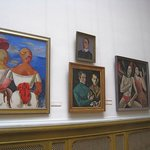 Wall of early 20th-century Latvian paintings