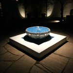 The fountain in the courtyard at night!