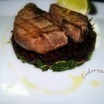 Tuna Steak with anchovy dressing & green salad