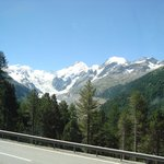 Approaching St. Moritz by the Bernina Express