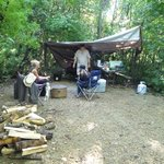 camp stall used for cooking and fire pit