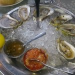 Selection of fresh oysters on ice