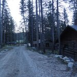 Cabins along road in early morning