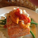 Steelhead Trout Special with risotto, peppers and beans