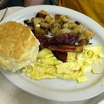 Man Sized Biscuit, Scrambled Eggs, Bacon & Toast