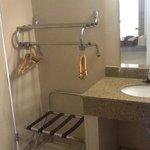 vanity sink with granite counters separate from bathroom