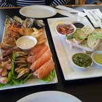 Seafood platter for two, plus bread to share with fresh salsa