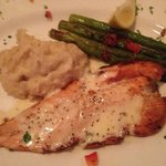 trout with lemon-butter squce, asparagus and mashed potatoes