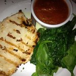 grilled chicken, red sauce, sauteed spinach