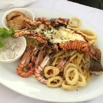 The seafood platter at Cardo's Incl. Lobster $100Fj - Way Too Good