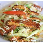 Spicy fish cake salad