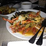 mixed seafood and fish platter with half lobster