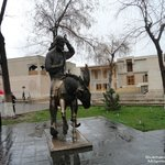 Bukhara, Nasrudin Hoja statue in front of Kukeldash Madrasah
