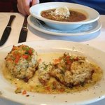 crab cakes and chicken gumbo soup