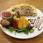 southwestern omelette with fruit, salsa, muffin and balsamic swirl