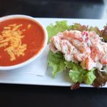 lobster roll with tomato cheddar soup! lovely!