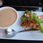 lobster roll with peanut creole soup! lovely!
