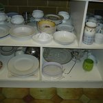 Crockery for guest use.