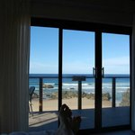 View from the bed out onto the ocean.