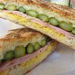 asparagus, Virginia ham, Gouda and creole mustard panini