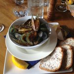 Mussels to die for, with a lovely Rua Pinot noir