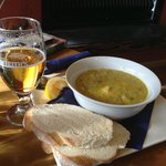 Seafood chowder and Monteiths Golden Ale