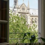Looking through one of the windows towards Notre Dame