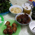 Bún Chả for one.  With beer, the cost was $5.50