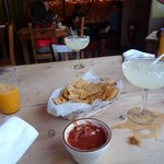 Margarita and Tortilla Chips with Salsa Sauce