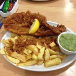 fish, chips and mushy peas with batter yum!
