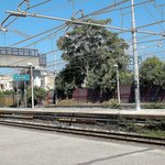 The train station of Pompei (modern Pompei) The old one is spelled 'Pompeii'