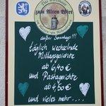 """Tageskarte """"Alter Wirt"""""""