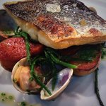 Stone Bass, Clam and Samphire with Chorizo