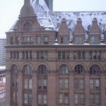 The view of City Hall in the snow ...