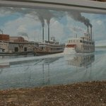 River boats mural on flood wall