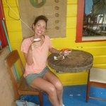 Enjoying the lovely banana bread  and latte