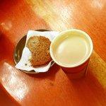 Banana bread and a soya milk vanilla latte...