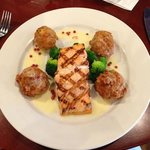 Grilled Salmon with Dauphine potatoes and broccoli