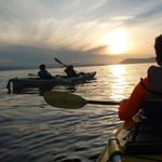 Sunset kayaking off Stuart Island