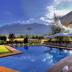 Outdoor swimming pool with a Mountain view