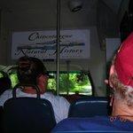 Inside tour bus