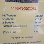 Bowling price list