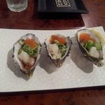 Oysters with daikon radish and salmon roe