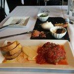 meatball crostini and burrata appetizer