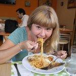 I'm eating pasta at Pasta Viva