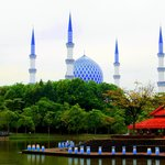 Blue mosque, from Shah Alam lake.
