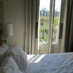 Bed and balcony door