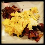 Spareribs and Hash with Scrambled Eggs