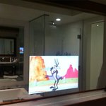 Built-in TV in the bathroom mirror